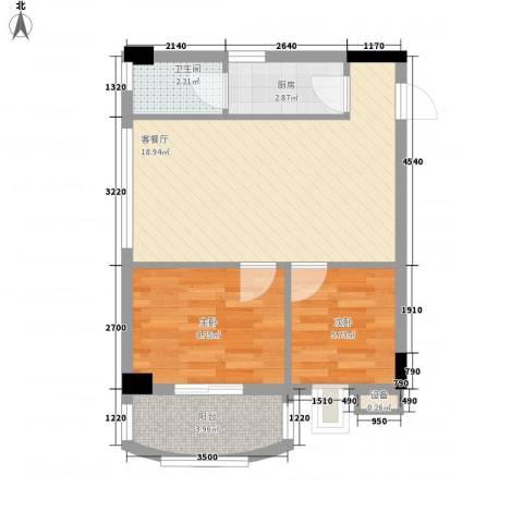 索丽苑2室1厅1卫1厨60.00㎡户型图