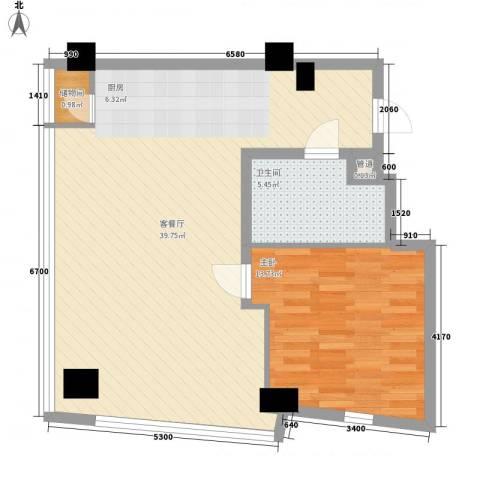 上置美兰优湖1室1厅1卫0厨85.00㎡户型图