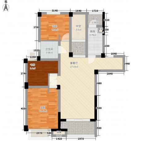 未来锦城3室1厅1卫1厨108.00㎡户型图