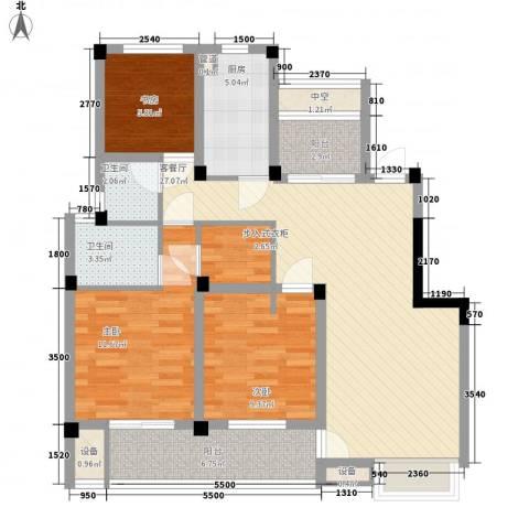 未来锦城3室1厅2卫1厨118.00㎡户型图