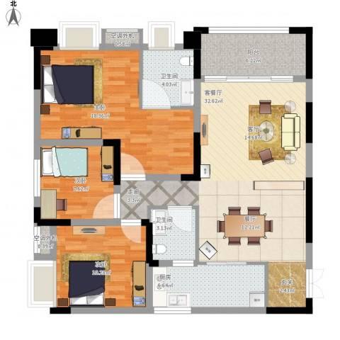 鸥鹏泊雅湾3室1厅2卫1厨129.00㎡户型图