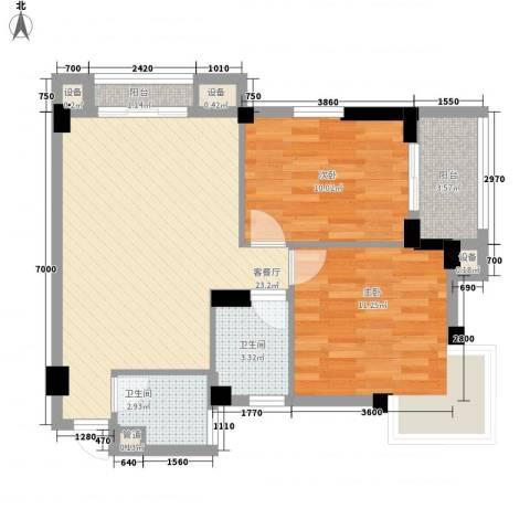 中港城2室1厅2卫0厨150.00㎡户型图