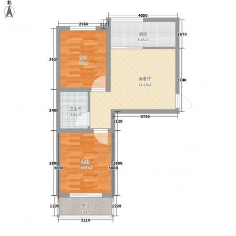 南海佳园2室1厅1卫1厨56.09㎡户型图