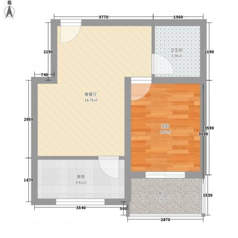 南海佳园1室1厅1卫1厨43.48㎡户型图