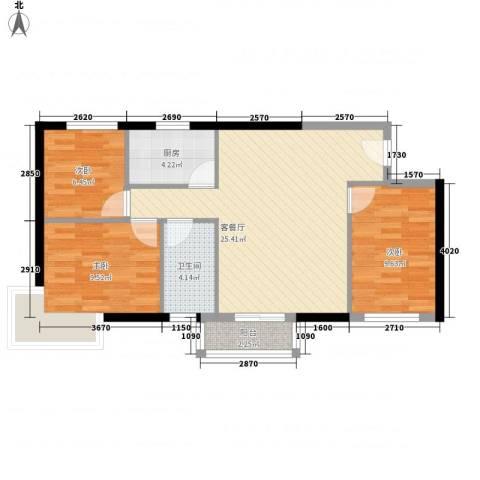 中港城3室1厅1卫1厨87.00㎡户型图