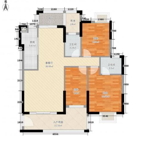 龙湾新城3室1厅2卫1厨114.00㎡户型图