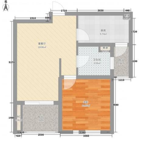 中锐山水映象1室1厅1卫1厨66.00㎡户型图