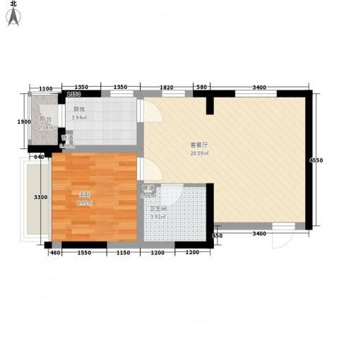 名流印象二期1室1厅1卫1厨45.61㎡户型图