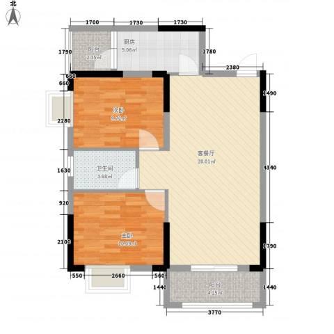 瘦西湖名苑2室1厅1卫1厨90.00㎡户型图