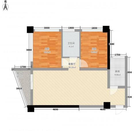 达人联盟2室1厅1卫1厨81.00㎡户型图
