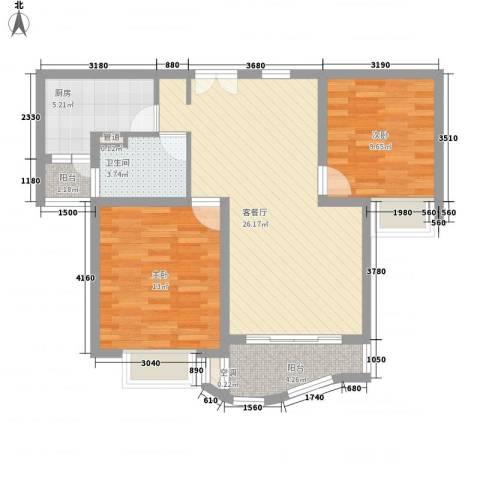 金沙丽晶苑2室1厅1卫1厨93.00㎡户型图