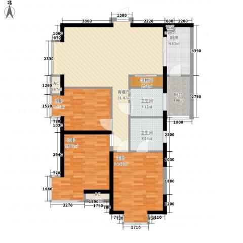 东泰城市之光3室1厅2卫1厨117.00㎡户型图