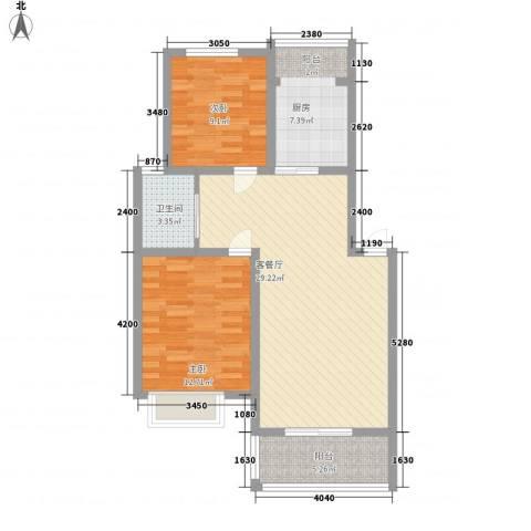 格林馨园2室1厅1卫1厨97.00㎡户型图