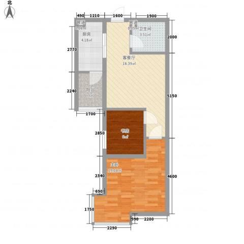 东泰城市之光2室1厅1卫1厨61.00㎡户型图