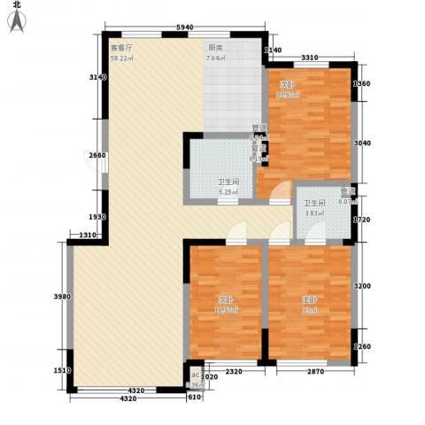 香水湾二期3室1厅2卫0厨122.00㎡户型图