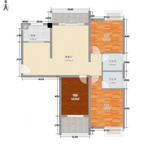 金湖湾墅园3室1厅2卫1厨139.00㎡户型图