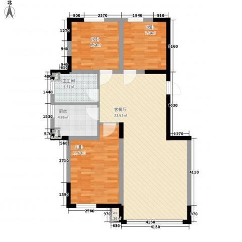香水湾二期3室1厅1卫1厨95.00㎡户型图