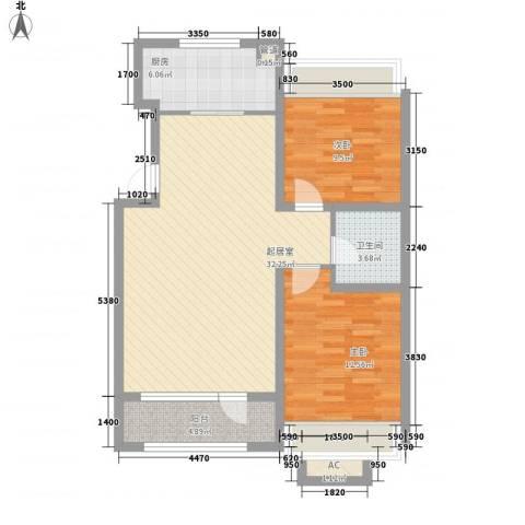 城建南郡2室0厅1卫1厨96.00㎡户型图