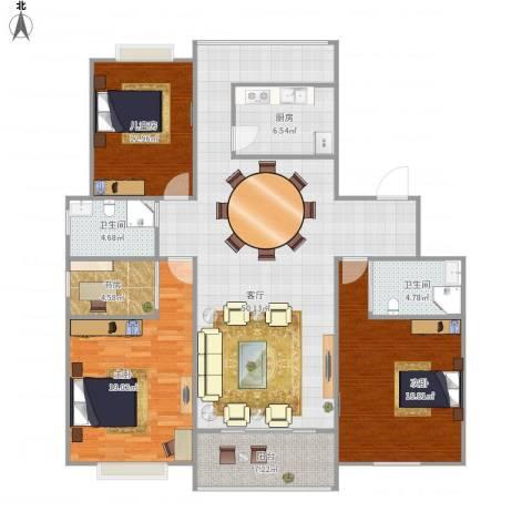 紫金园4室1厅2卫1厨172.00㎡户型图