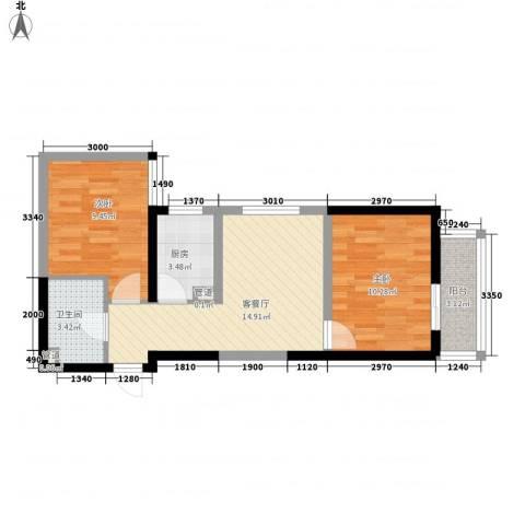 经发新北居2室1厅1卫1厨63.00㎡户型图