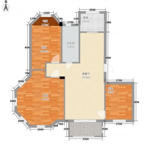 湾德里华府3室1厅1卫1厨91.82㎡户型图
