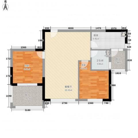碧桂园凤凰城2室1厅1卫1厨87.00㎡户型图