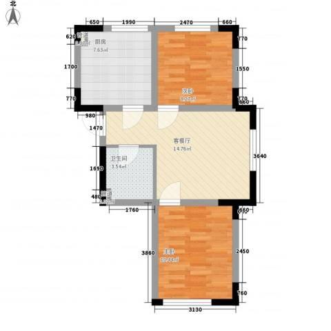 香水湾二期2室1厅1卫1厨68.00㎡户型图