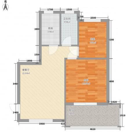 山海湾温泉家园2室1厅1卫1厨76.00㎡户型图