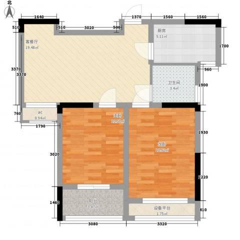 泰山一村2室1厅1卫1厨84.00㎡户型图