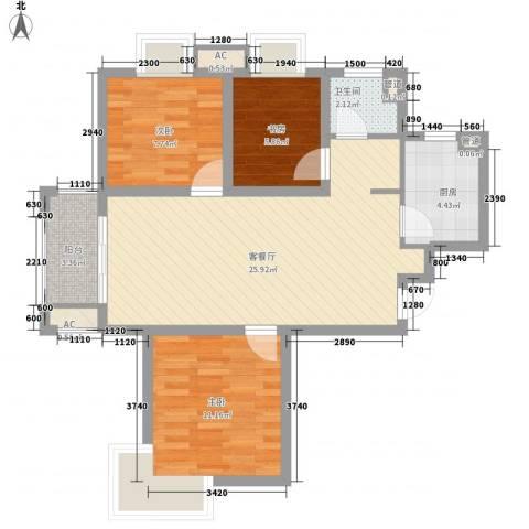 中锐山水映象3室1厅1卫1厨91.00㎡户型图