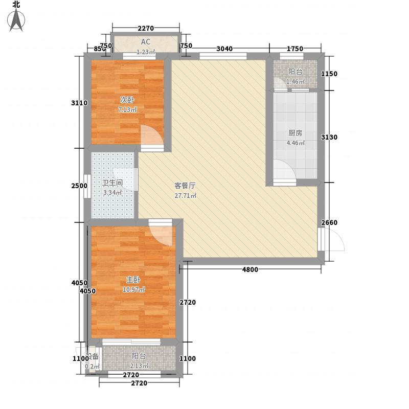 华北家园87.65㎡D户型2室2厅1卫1厨