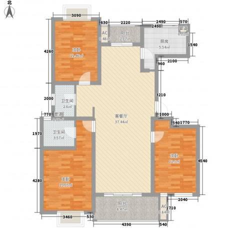 中锐山水映象3室1厅2卫1厨141.00㎡户型图