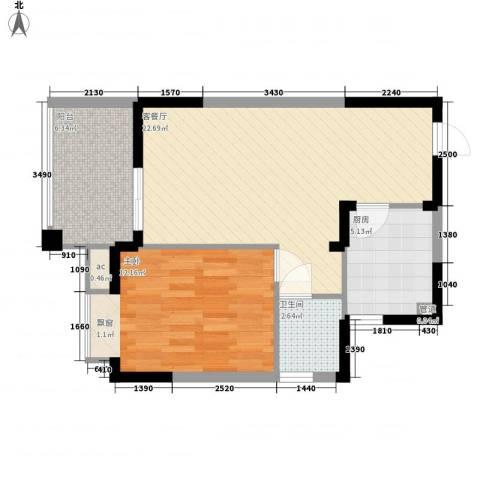中央绿园1室1厅1卫1厨62.00㎡户型图