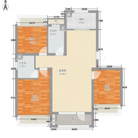 城建南郡3室0厅2卫1厨112.00㎡户型图