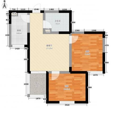 经发新北居2室1厅1卫1厨74.00㎡户型图