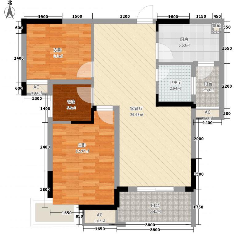 水晶郦都94.01㎡水晶郦都户型图D2户型3室2厅1卫1厨户型3室2厅1卫1厨