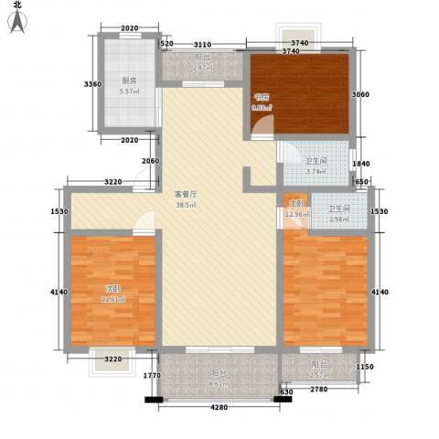 陈渡新苑3室1厅2卫1厨140.00㎡户型图
