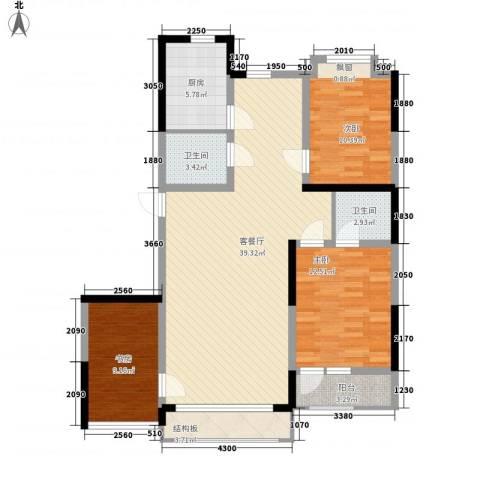 香水湾二期3室1厅2卫1厨108.00㎡户型图
