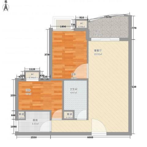 �泰大厦2室1厅1卫1厨75.00㎡户型图