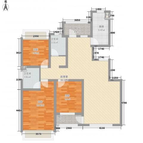 城建南郡3室0厅2卫1厨130.00㎡户型图