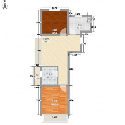 城建南郡2室0厅1卫1厨69.00㎡户型图
