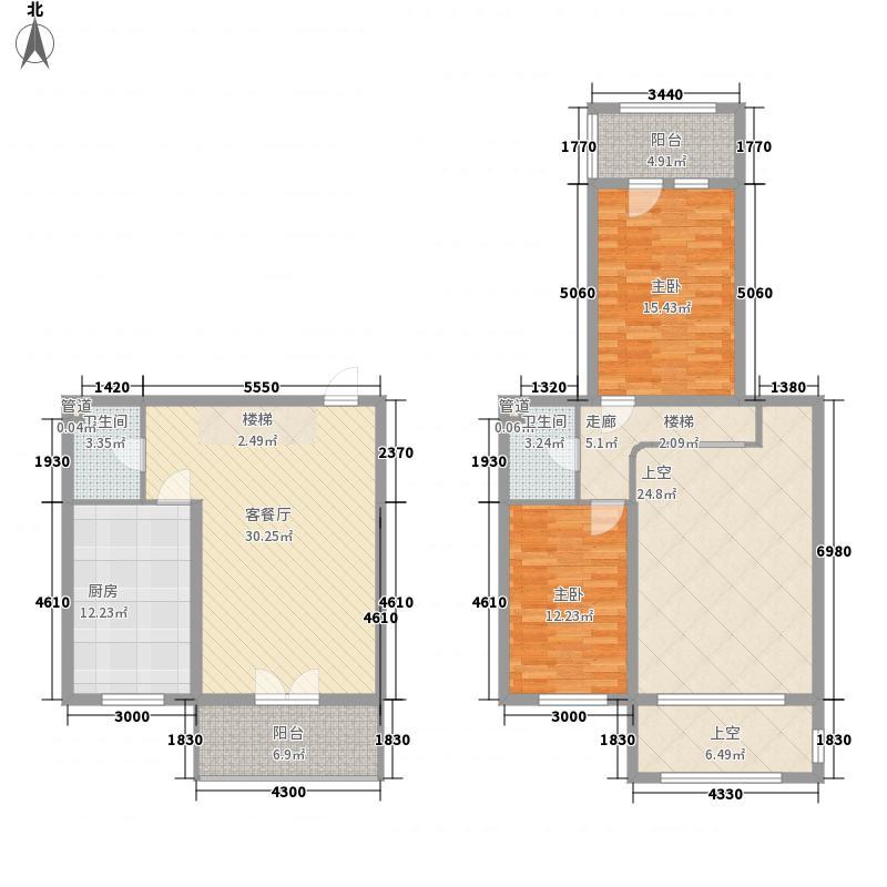 富佳新天地72.00㎡富佳新天地户型图E-4复式户型2室2厅2卫1厨户型2室2厅2卫1厨