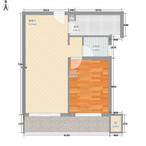 金沙丽晶苑1室1厅1卫1厨68.00㎡户型图