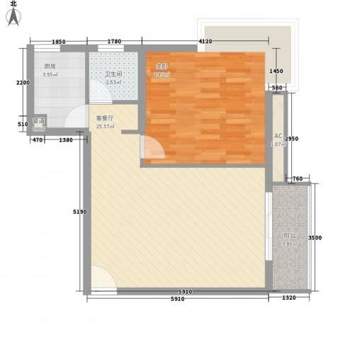 金沙丽晶苑1室1厅1卫1厨72.00㎡户型图
