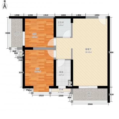 翡翠明珠2室1厅1卫1厨69.10㎡户型图
