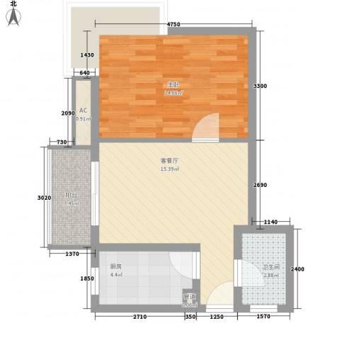 金沙丽晶苑1室1厅1卫1厨60.00㎡户型图