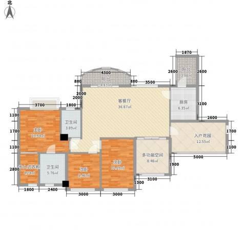 君汇华庭3室1厅2卫1厨126.00㎡户型图