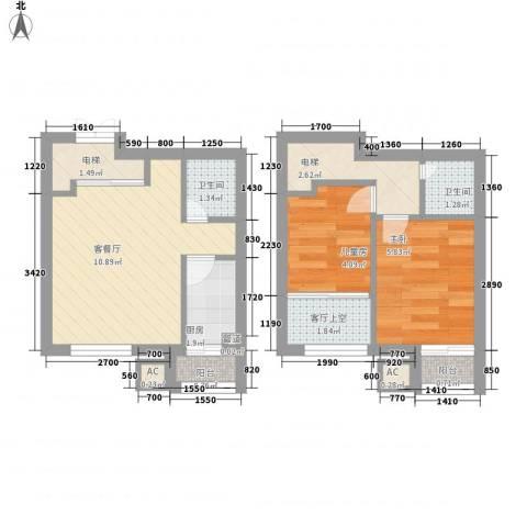 香堤湾2室1厅2卫1厨55.00㎡户型图