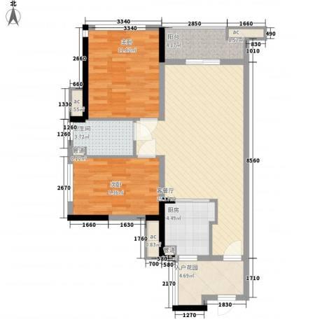 万科金域松湖2室1厅1卫1厨65.61㎡户型图
