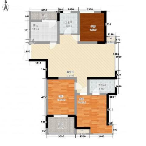 金都名苑3室1厅2卫1厨127.00㎡户型图